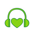 headphones with heart lemon scribble icon vector image vector image