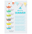 hello summer background with colorful paper ship vector image vector image