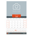 june 2018 wall monthly calendar planner for 2018 vector image vector image