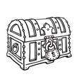 locked pirate treasure chestg sketch style hand vector image