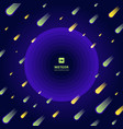 meteor yellow and green on dark blue gradient vector image