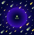meteor yellow and green on dark blue gradient vector image vector image