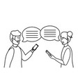 millennial smartphone chat conversation black and vector image