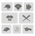 Monochrome set with baseball icons vector image vector image