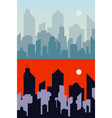 morning and night town background city skyline vector image vector image