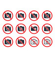 no photo camera sign icon set no photography vector image vector image