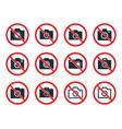 no photo camera sign icon set photography vector image vector image