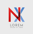 nx logo letters with blue and red gradation vector image vector image