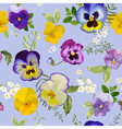 Pansy Flowers Background - Seamless Floral Pattern vector image vector image