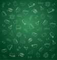 pattern from school elements on green chalkboard vector image