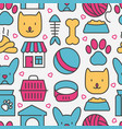 pet care seamless pattern with thin line icons vector image