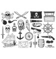 pirates and treasures map icons caribbean island vector image