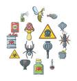 poison danger toxic icons set cartoon style vector image