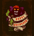 poster with angry monster for halloween vector image vector image
