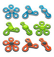 set colorful fidget spinners vector image