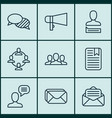 set of 9 communication icons includes talking vector image vector image
