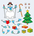 set of cartoon snowman for animation vector image vector image