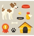 Set of icons and objects with cute dog vector image