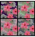 Set of tropical floral seamless patterns vector image vector image