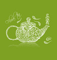 teapot sketch with green tea for your design vector image vector image