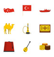 turkey things icons set flat style vector image vector image