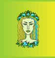virgo girl portrait zodiac sign doodle vector image vector image