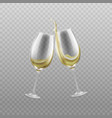 wine glasses with splashing white wine realistic vector image vector image