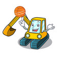 with basketball excavator character cartoon style vector image vector image