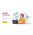young woman listening to music on stereo vector image vector image