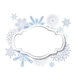 Winter vintage label on snowflakes background vector image