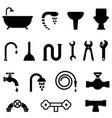 plumbing and bathroom icons vector image