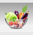 Realistic Vegetables In Glass Bowl vector image