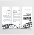 abstract black mosaic style tri fold brochure vector image vector image