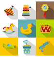 baby toy icon set flat style vector image vector image