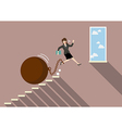 Business woman jumping to freedom with heavy vector image vector image