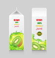 cardboard pack with kiwi juice vector image vector image