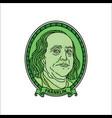 cartoon benjamin franklin dollars vector image vector image