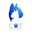 cat care logo blue modern gradient on white vector image