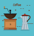coffee grinder manual maker and moka pot in blue vector image