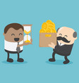 concept of businessmen exchanges money with time vector image vector image
