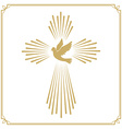 Cross with the dove Church emblem template design vector image vector image