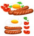 egg sausage tomato vector image vector image