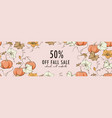 fall promotion template pumpkin bloom design kids vector image