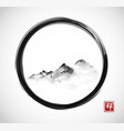 Far mountains in fog in black enso zen circle