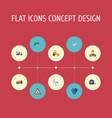 flat icons van electric screwdriver steamroller vector image vector image