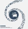 Forklift icon in the center Around the many vector image vector image