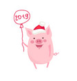 funny card design with cute cartoon pig vector image