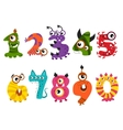 Funny cute monster numbers for halloween party vector image