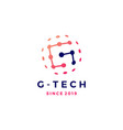 g letter tech connection sphere planet logo icon vector image vector image