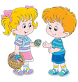 Girl and boy on Easter Day vector image vector image